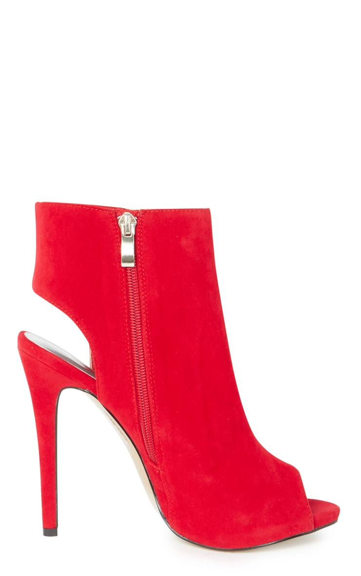 Lola Red Peep Toe Cut Out Ankle Boot 2