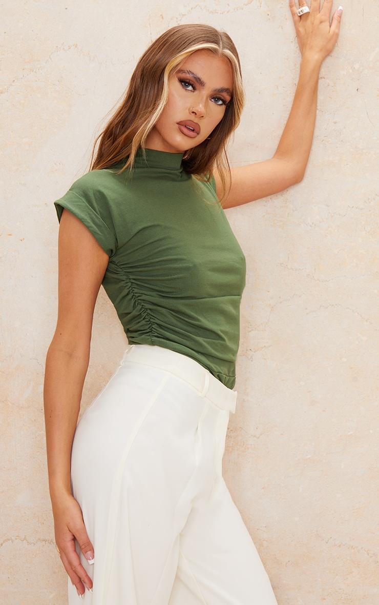 Khaki Cotton Folded Sleeve Ruched Side Bodysuit 1
