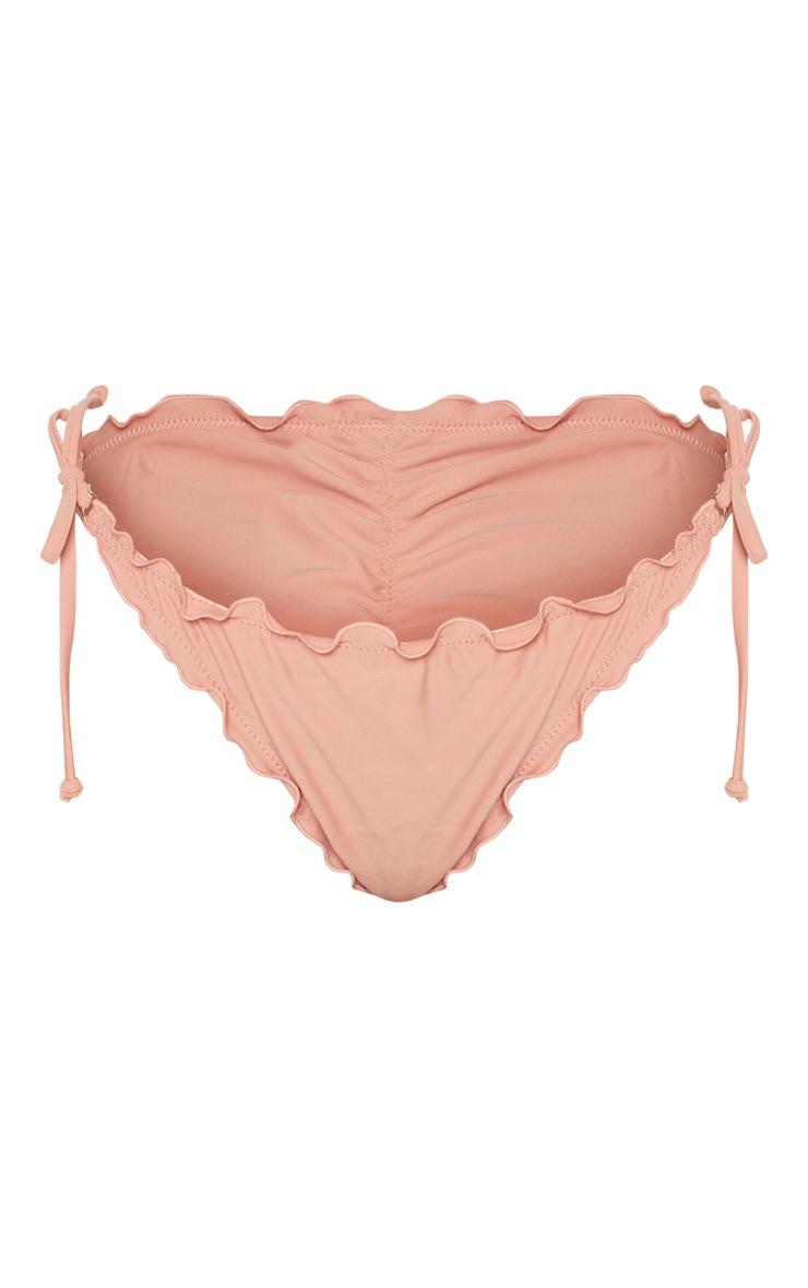 Clay Pink Frill Edge Ruched Back Bikini Bottoms 3