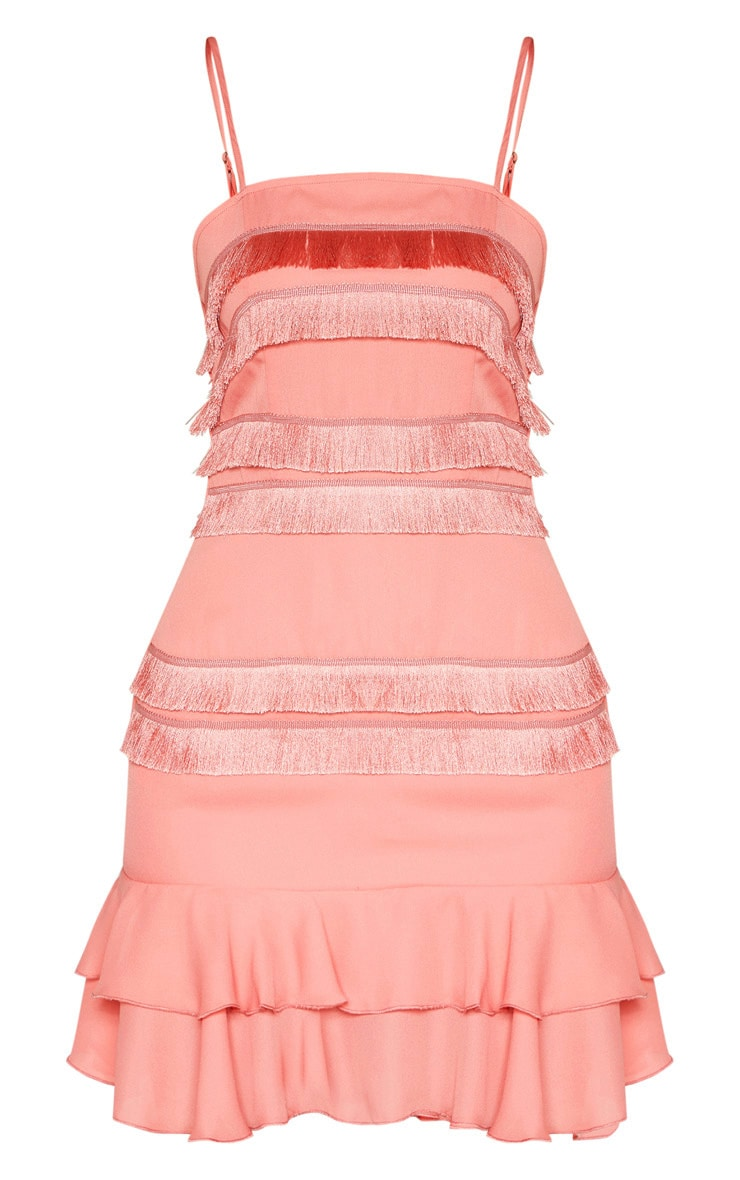 Tall  Dusty Pink Fringe Detail Flare Dress 3
