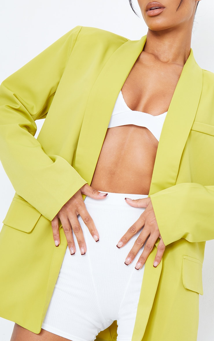 Lime Curved Lapel Woven Longline Blazer 4