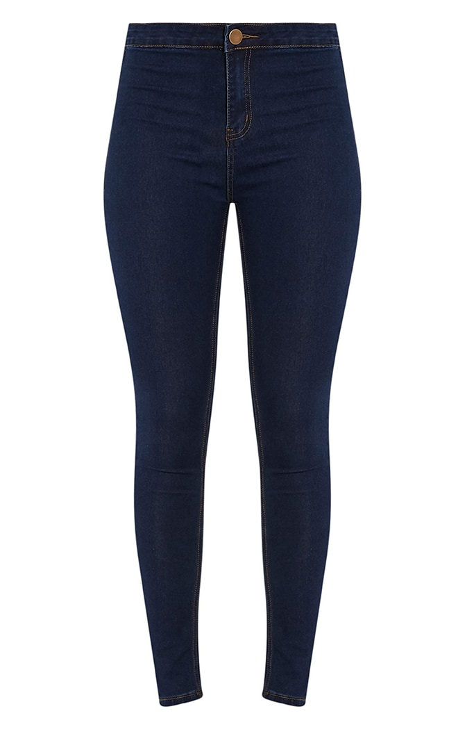 Dark Blue Wash High Waisted Skinny Jeans 3