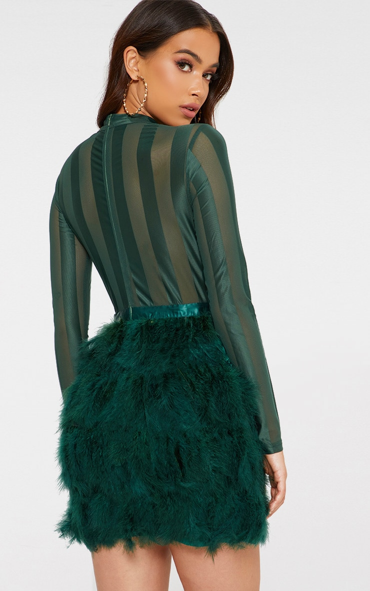 Emerald Green Feather Skirt Bodycon Dress 2