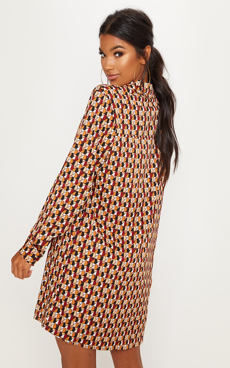 Brick Multi Geometric Print Shirt Dress 2