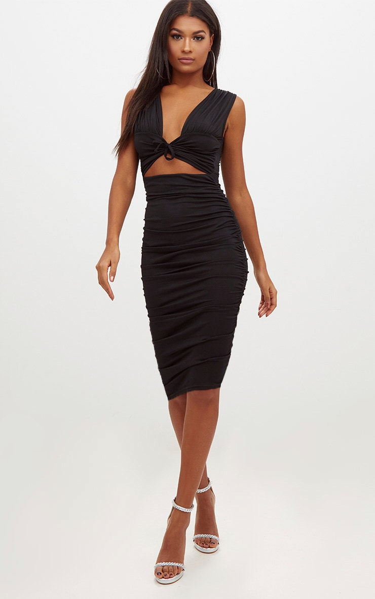 Black Tie Front Cut Out Ruched Midi Dress 4