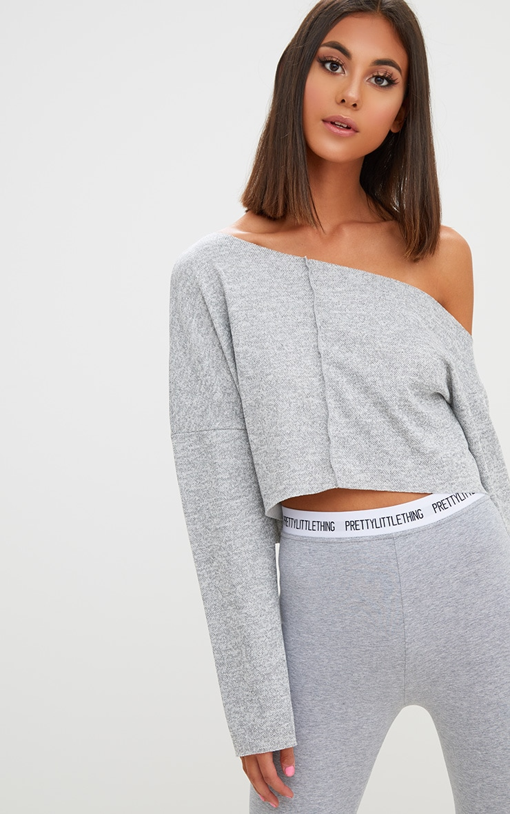 Grey Off Shoulder Long Sleeve Cropped Sweater 1