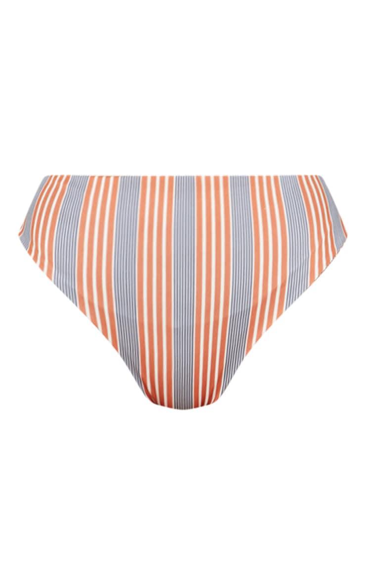Brown Double Stripe High Waisted Bikini Bottom 4
