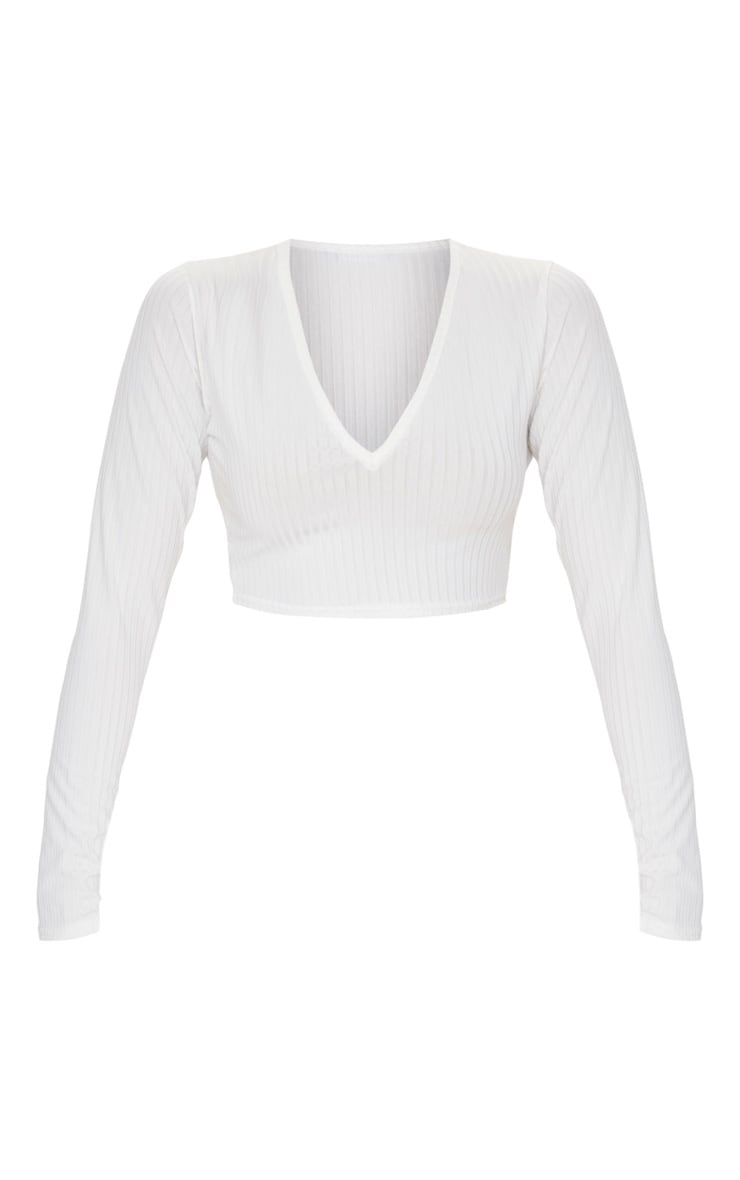 Cream Ribbed V Neck Long Sleeve Crop Top 3