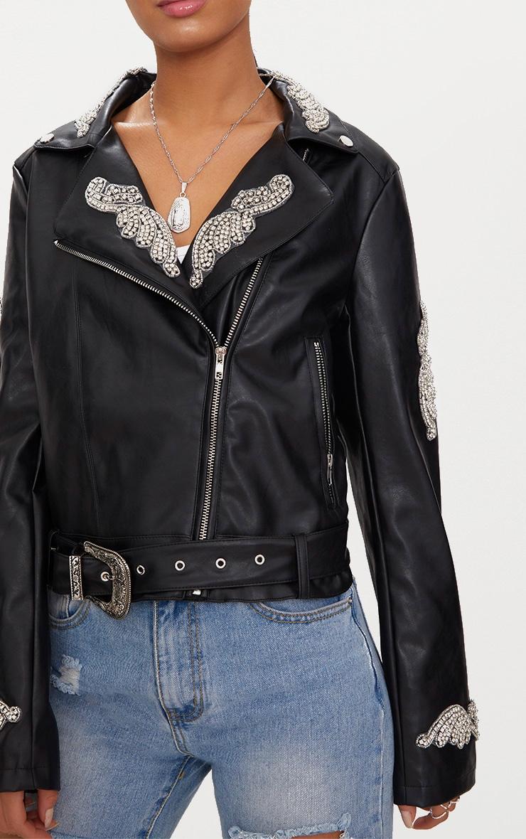 Black Embellished Applique Detail PU Biker Jacket 5