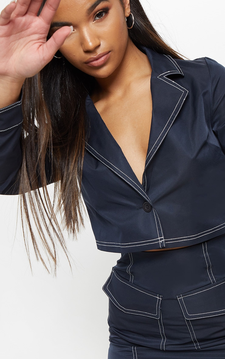 Navy Contrast Stitch Crop Jacket 5
