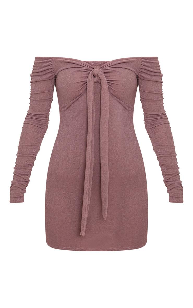 Mauve Tie Front Ruched Arm Bardot Bodycon Dress 3