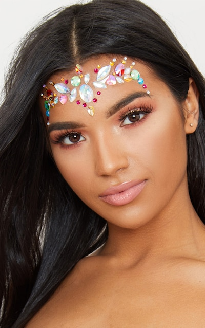 PRETTYLITTLETHING Multi Chunky Rainbow Festival Face Jewels