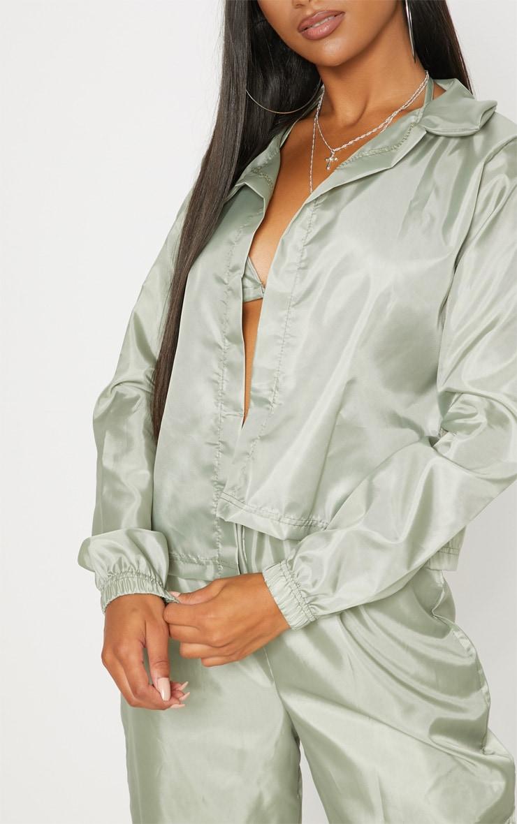 Khaki Button Detail Shell Shirt 5