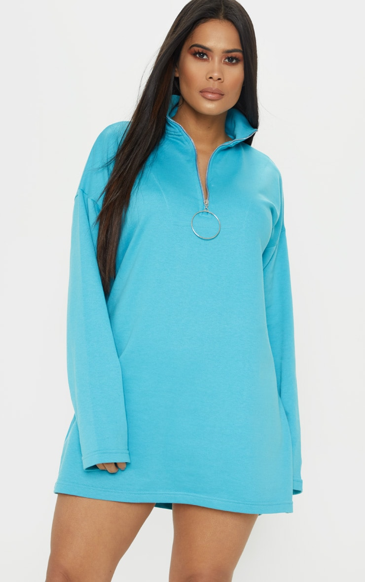 Bright Blue Ring Zip Front Jumper Dress 1