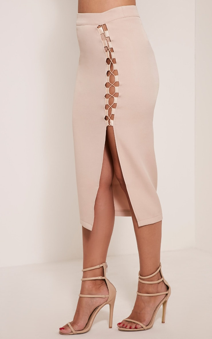 Janelle Nude Lace Up Midi Skirt 4