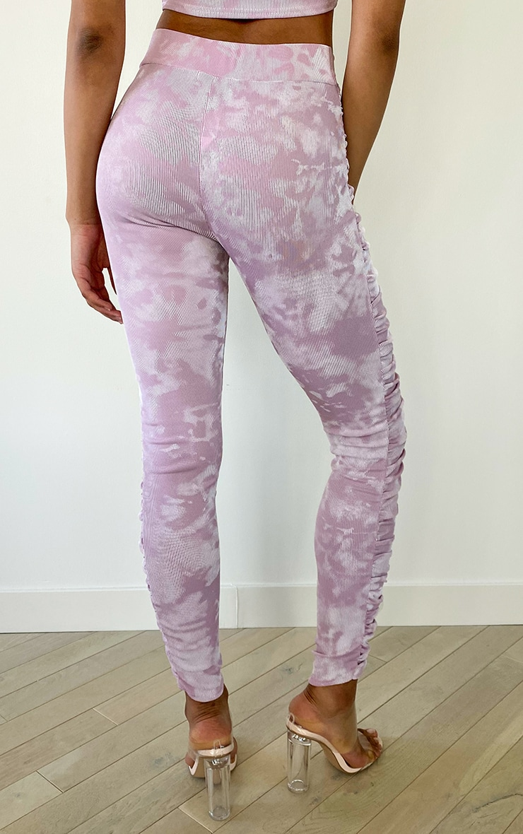 Tall Mauve Tie Dye Ruched Front Seam Leggings 3