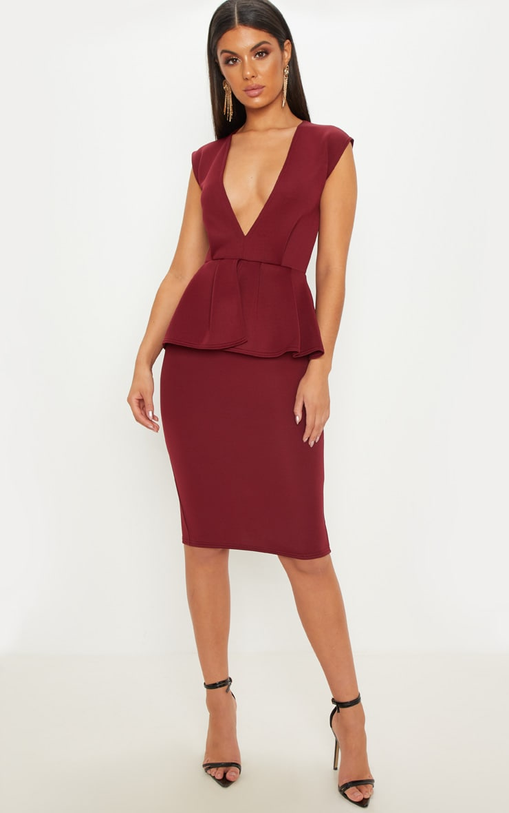 Burgundy Bonded Scuba Plunge Peplum Midi Dress