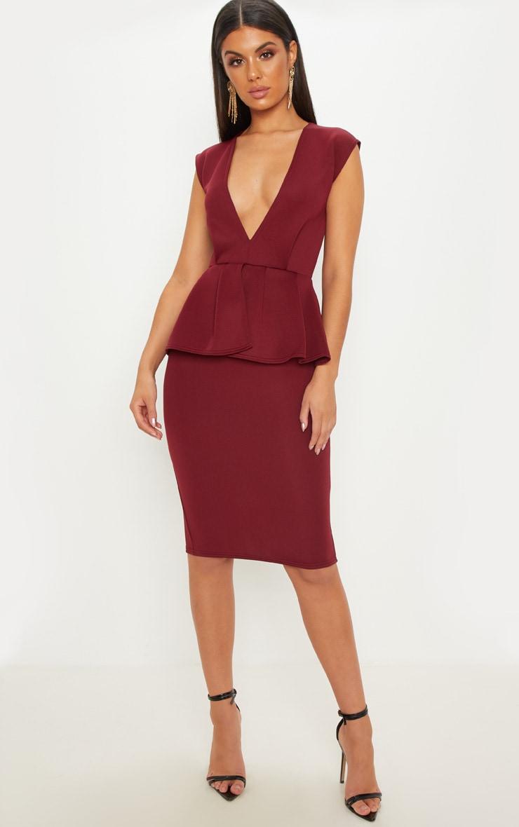 Burgundy Bonded Scuba Plunge Peplum Midi Dress
