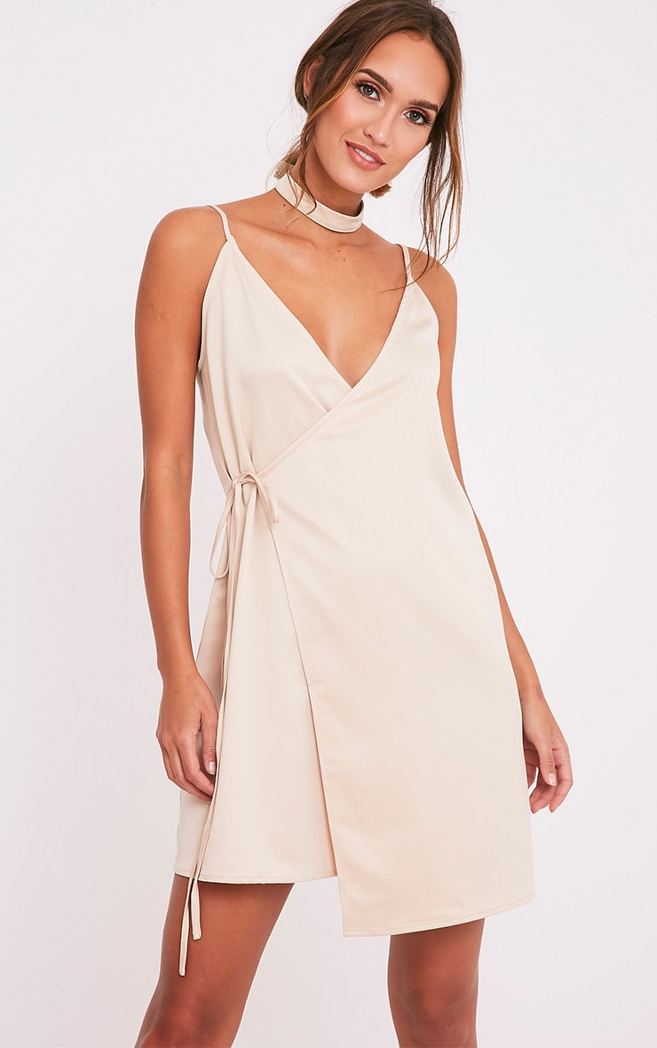 Priah Champagne Choker Neck Wrap Over Cami Dress 1