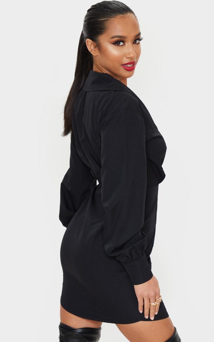 Petite Black Button Front Plunge Shirt Dress 2
