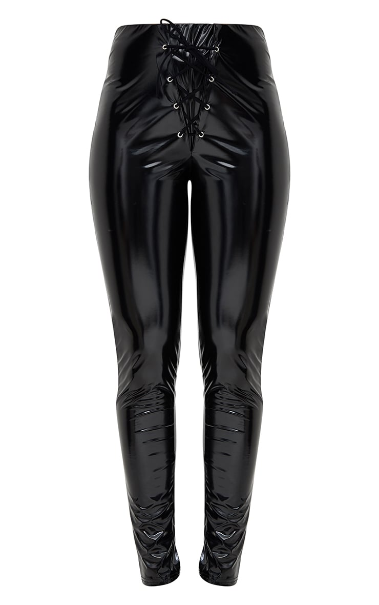 Black Vinyl Skinny Lace Up Trousers 3