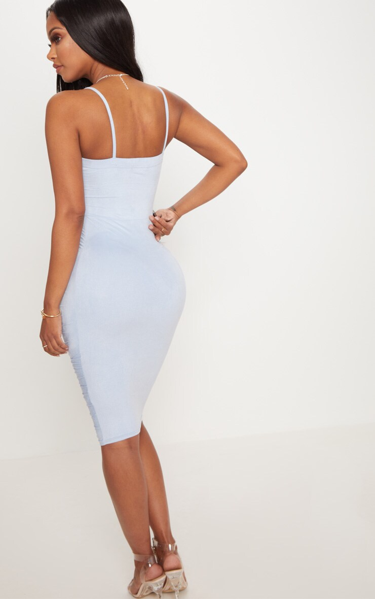 Shape Dusty Blue Faux Suede Ruched Midi Dress 2