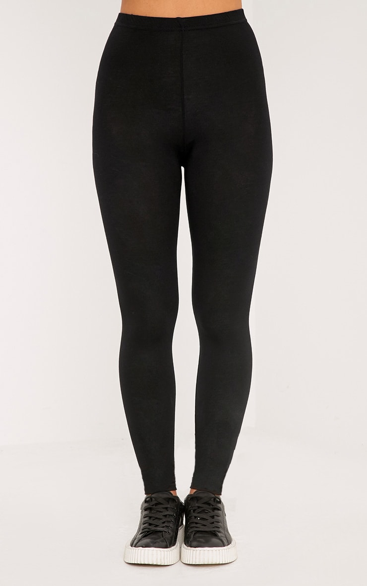 Petite Clarinda Black Basic Leggings 2