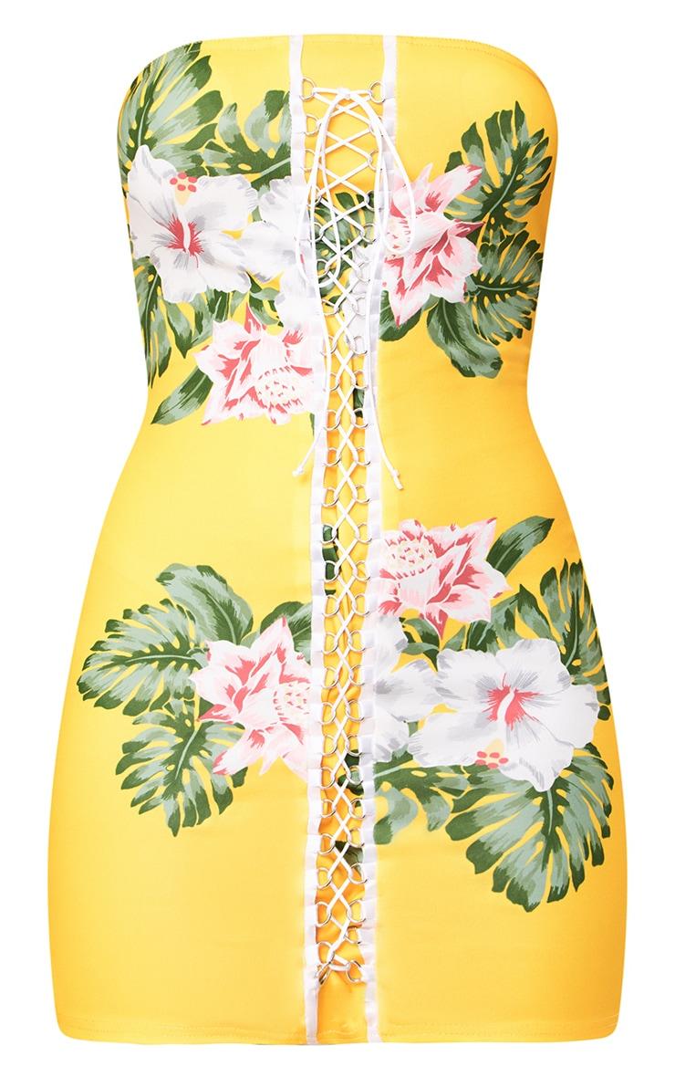 Yellow Floral Print Lace Up Detail Bandeau Bodycon Dress 3