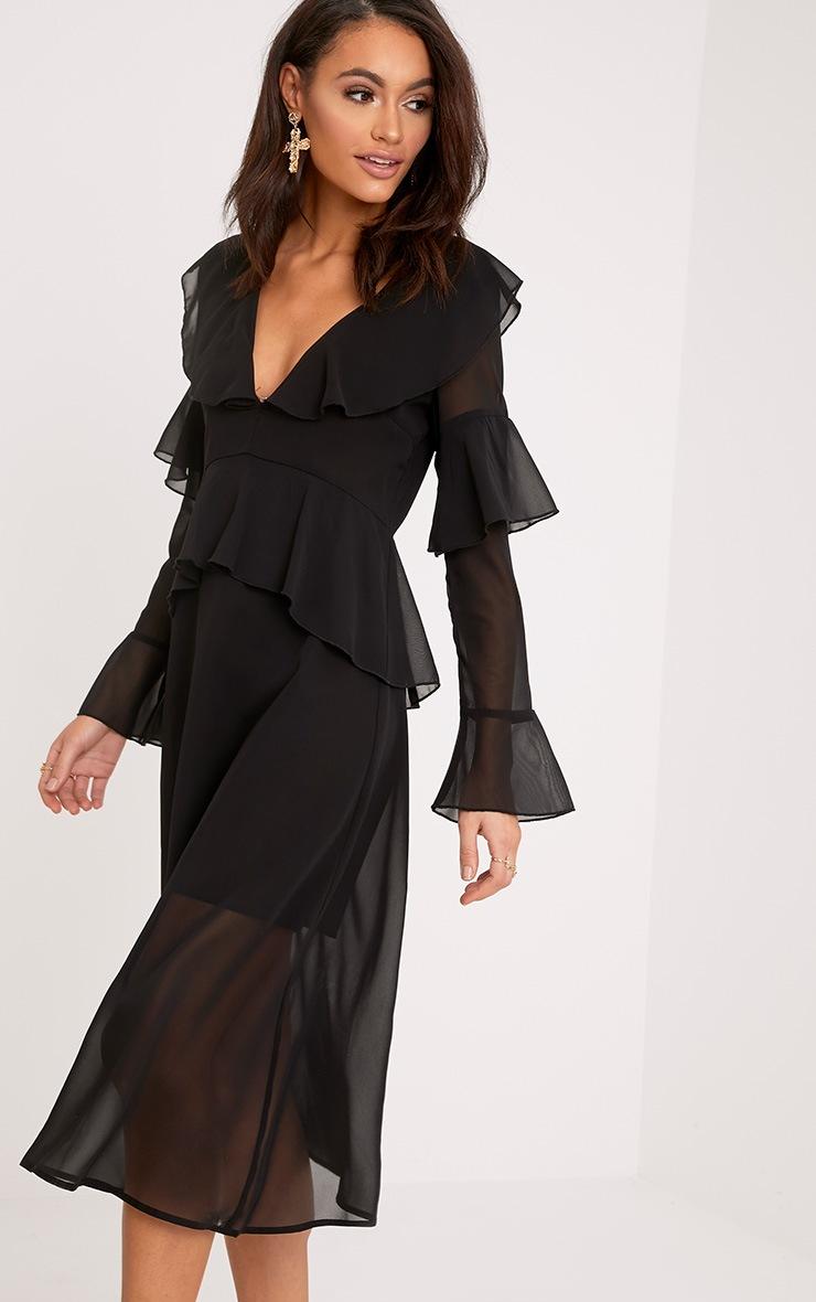 Kaselia Black Frill Detail Midi Dress 1