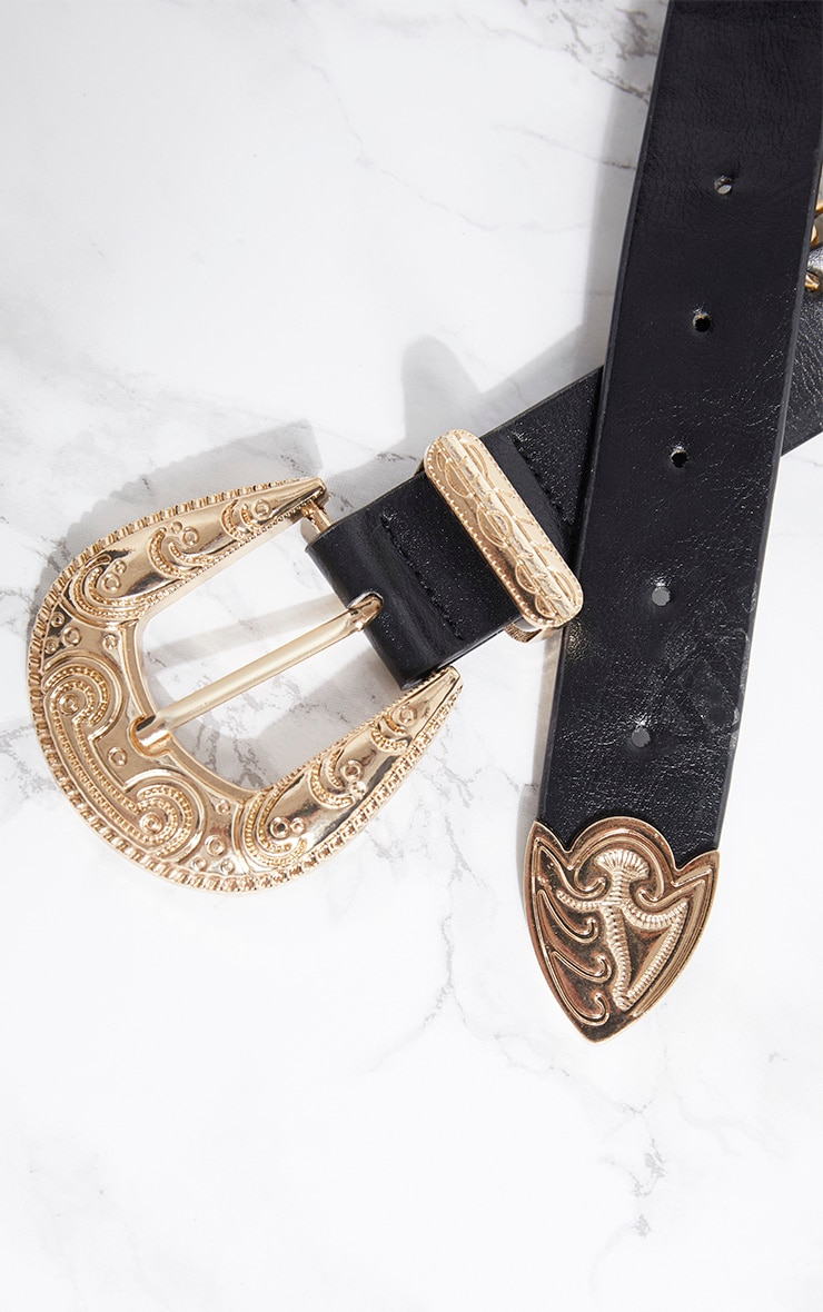 Black Western Buckle Chain Drop Belt 2