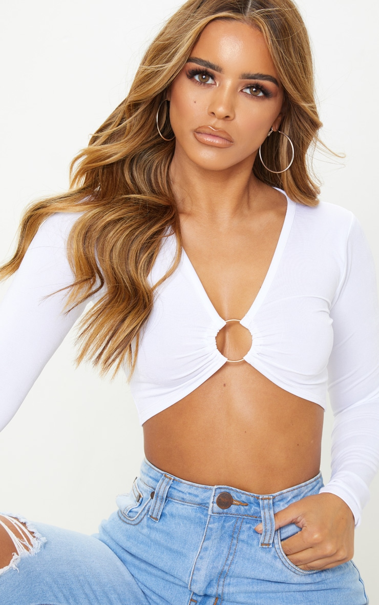 Petite White Ring Detail Long Sleeve Top  5