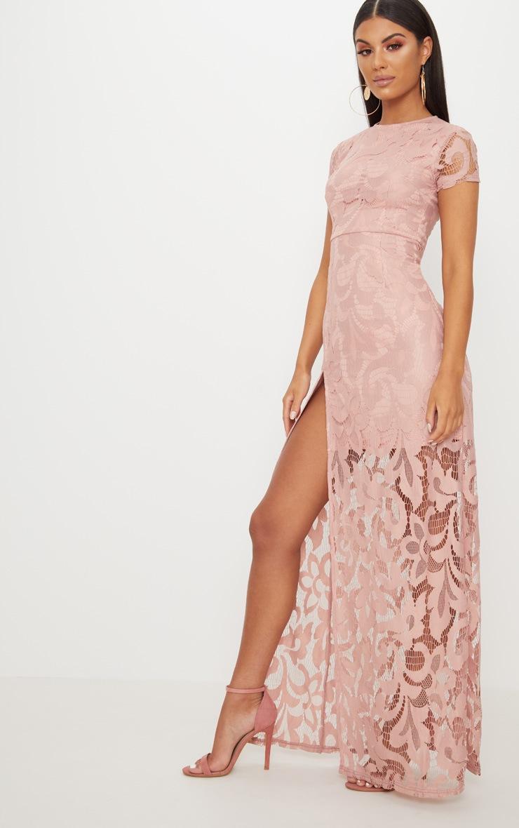 Nude Lace Cap Sleeve Extreme Split Maxi Dress 4