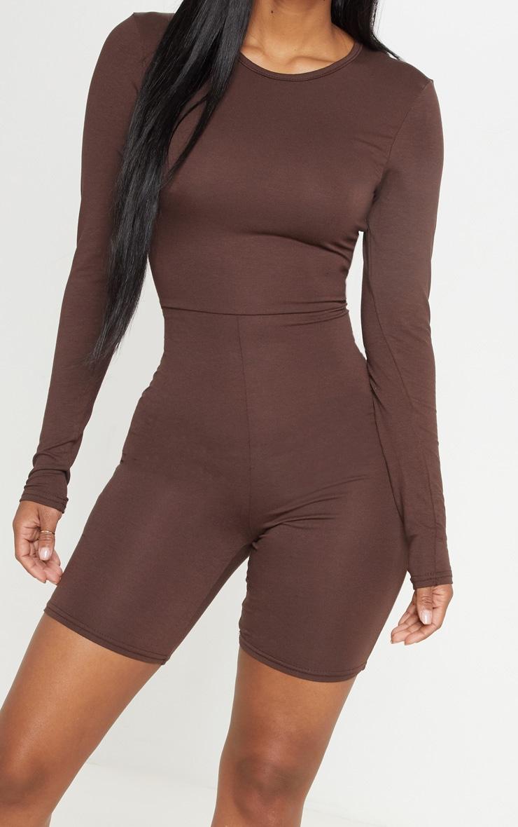 Shape Chocolate Brown Jersey Long Sleeve Unitard  5