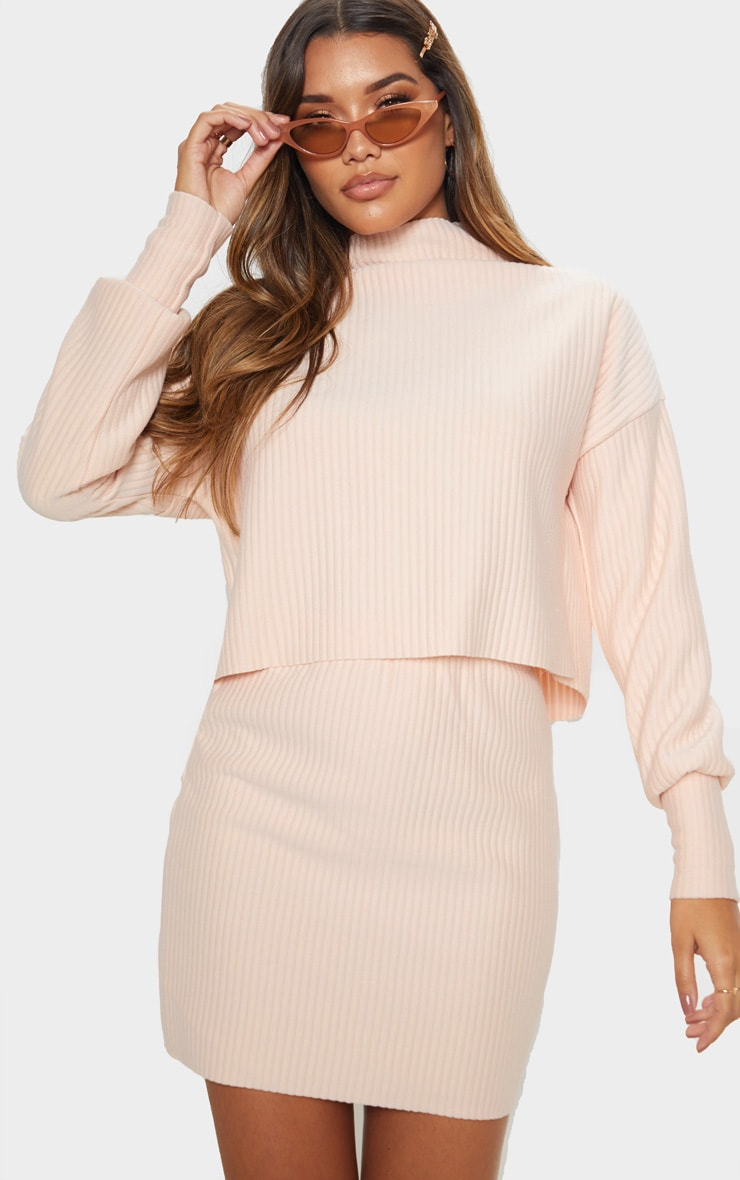 Blush Jumbo Rib High Neck Long Sleeve Sweater 1