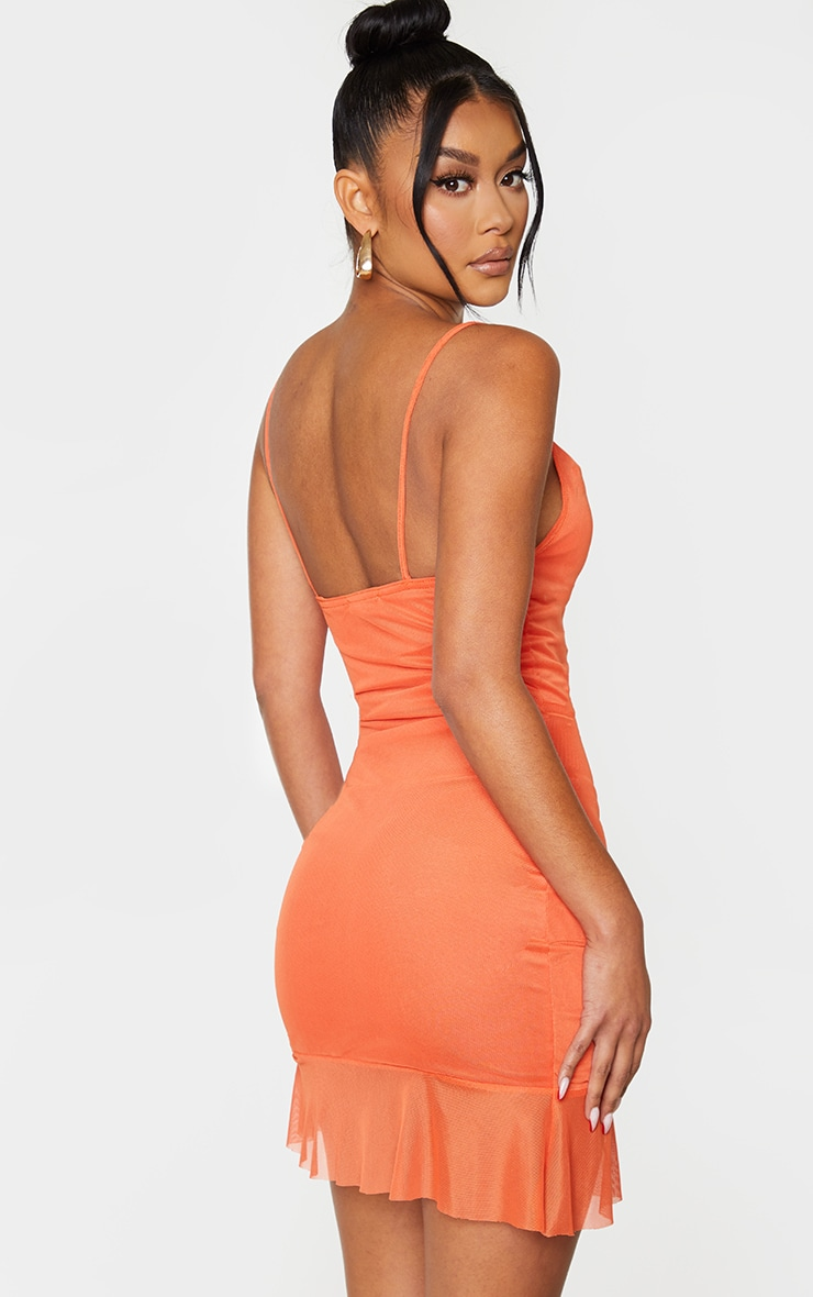 Bright Orange Strappy Mesh Ruched Bodycon Dress 3