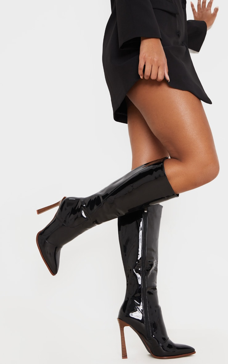 Black Knee High Vinyl Zip Boots 2
