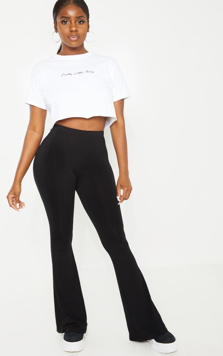 Petite Black Basic Flare Leg Pants 1
