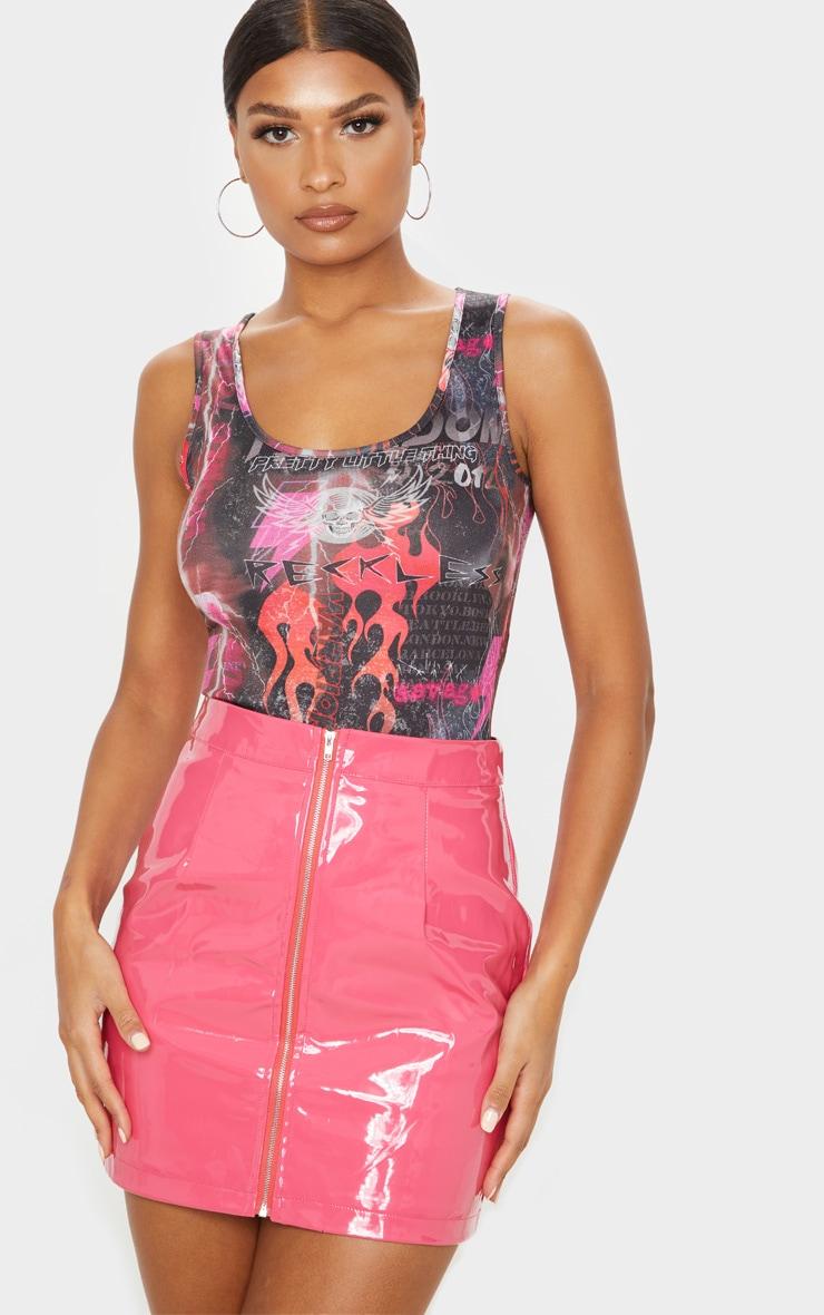 Hot Pink Vinyl Mini Skirt  1