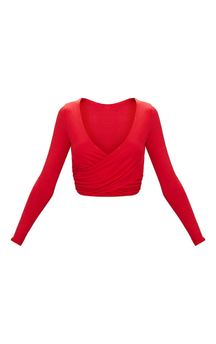 Red Jersey Wrap Long Sleeve Crop Top 3