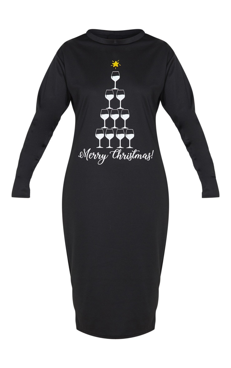 Black Merry Christmas Midi Jumper Dress 3