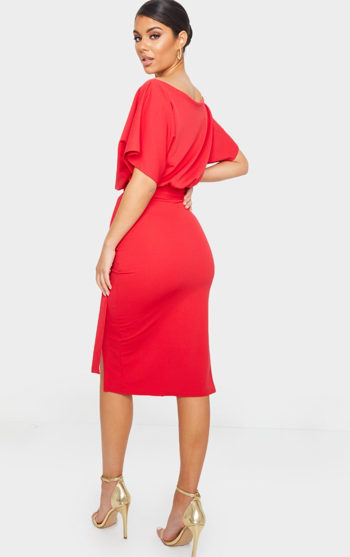 Wrap Front Red Kimono Sleeve Midi Dress 2