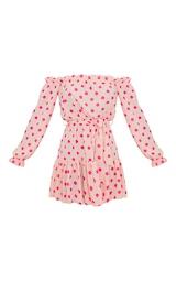 Dusty Pink Polka Dot Bardot Tie Waist Shift Dress  3