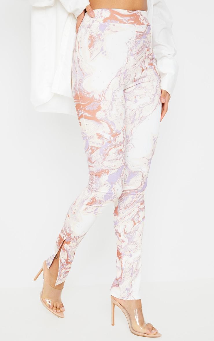 Cream Marble Print Scuba Split Hem Leggings 2