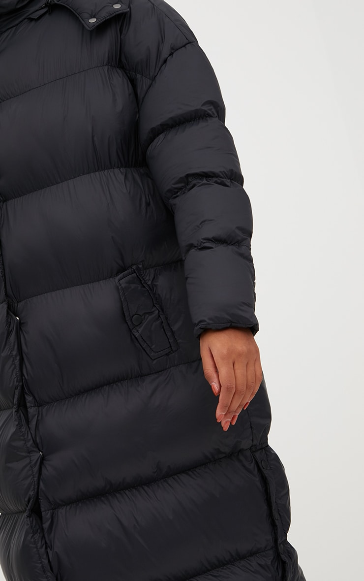 Black Oversized Longline Puffer Jacket with Hood 5