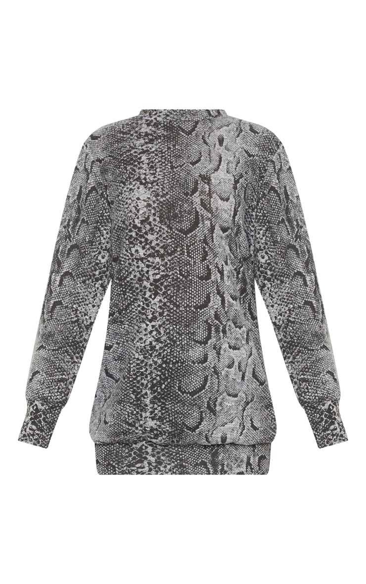 Grey Knitted Snake Print  Oversized Jumper  3