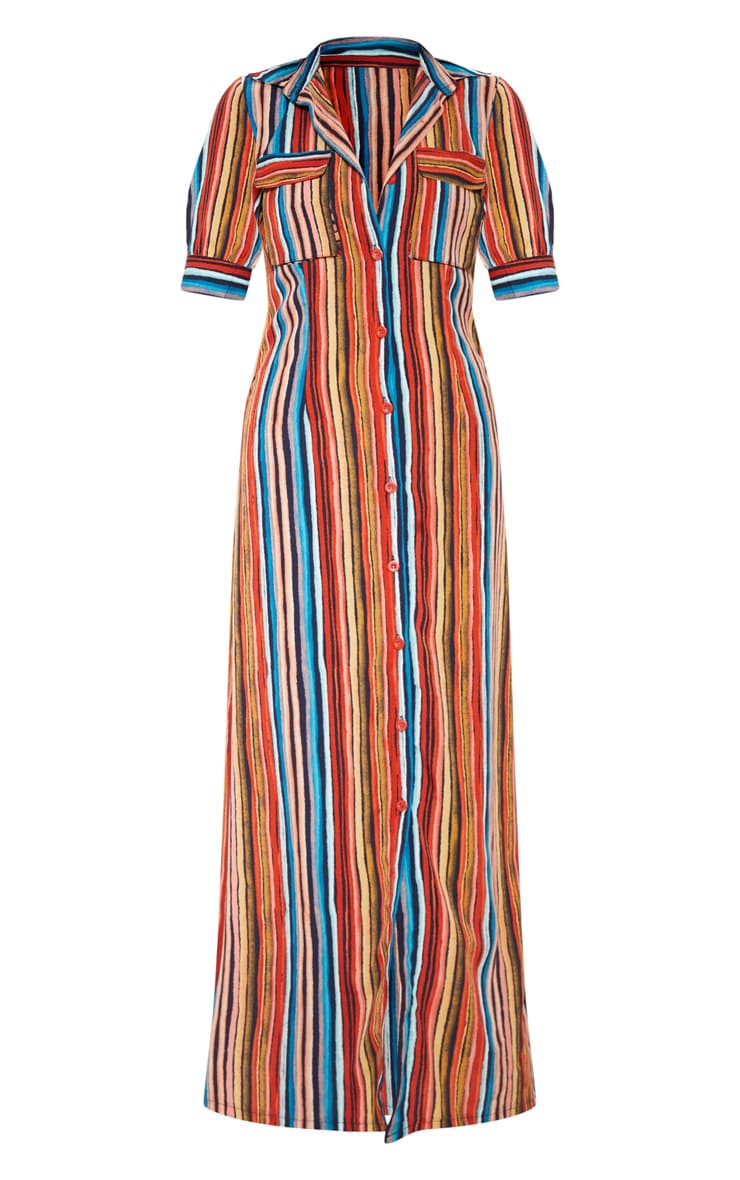 Multi Printed Stripe Short Sleeve Maxi Shirt Dress 3