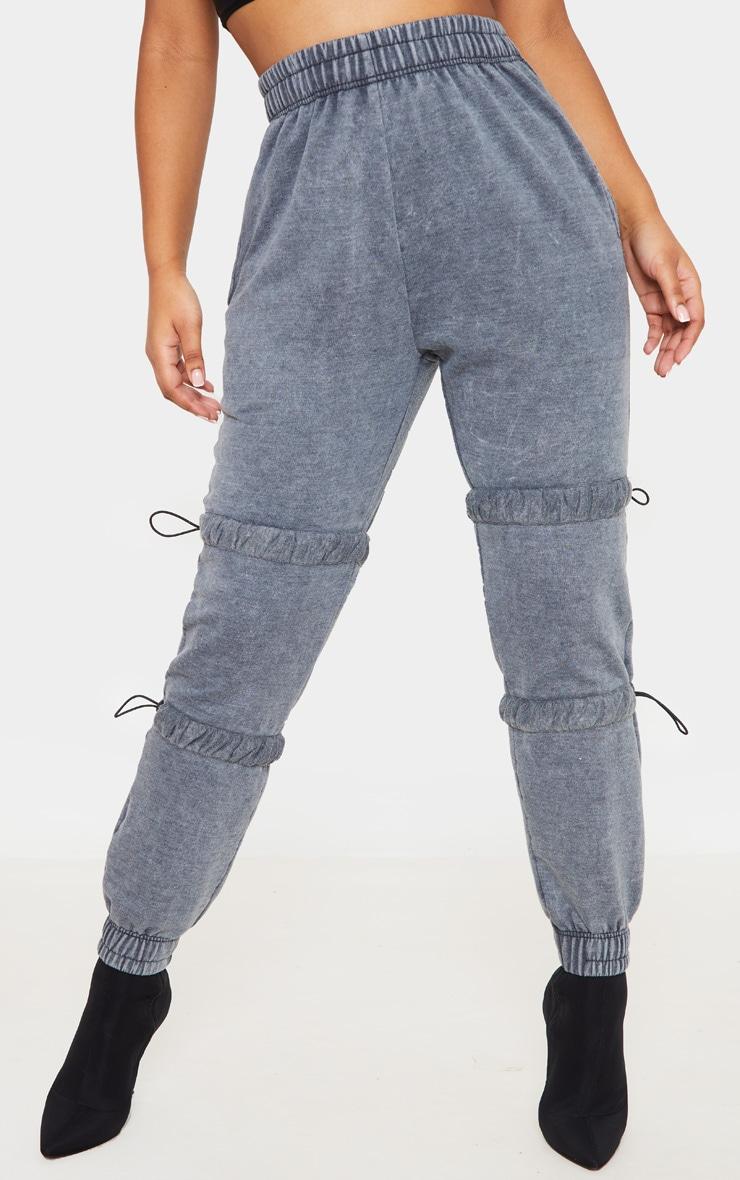 Grey Acid Wash Toggle Detail Ruched Leg Jogger 2