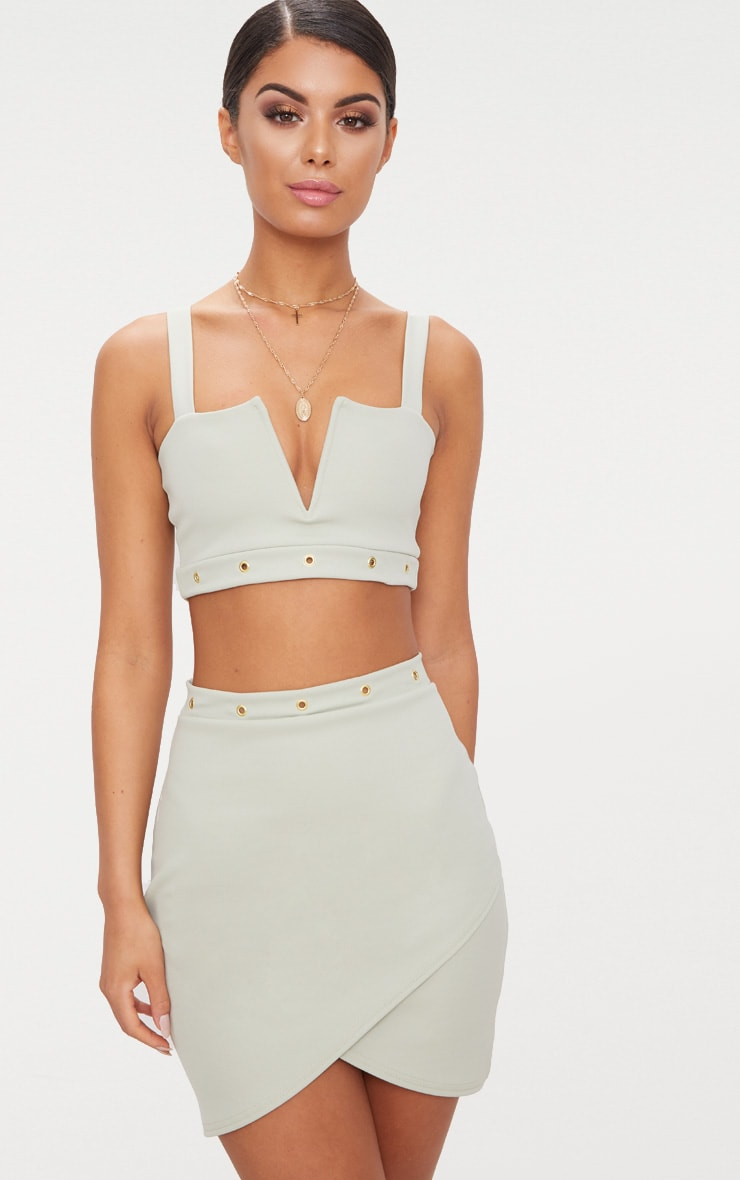 Sage Green Eyelet Detail V Bar Crop Top  1