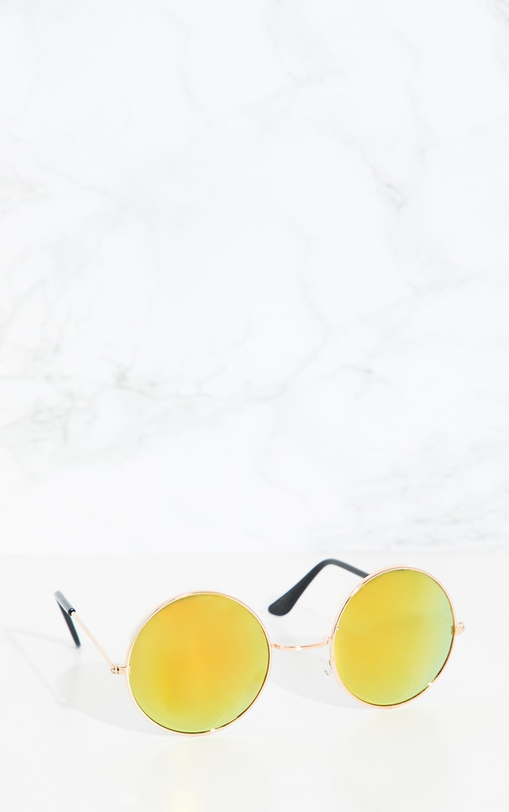 Orange Round Metal Sunglasses 2