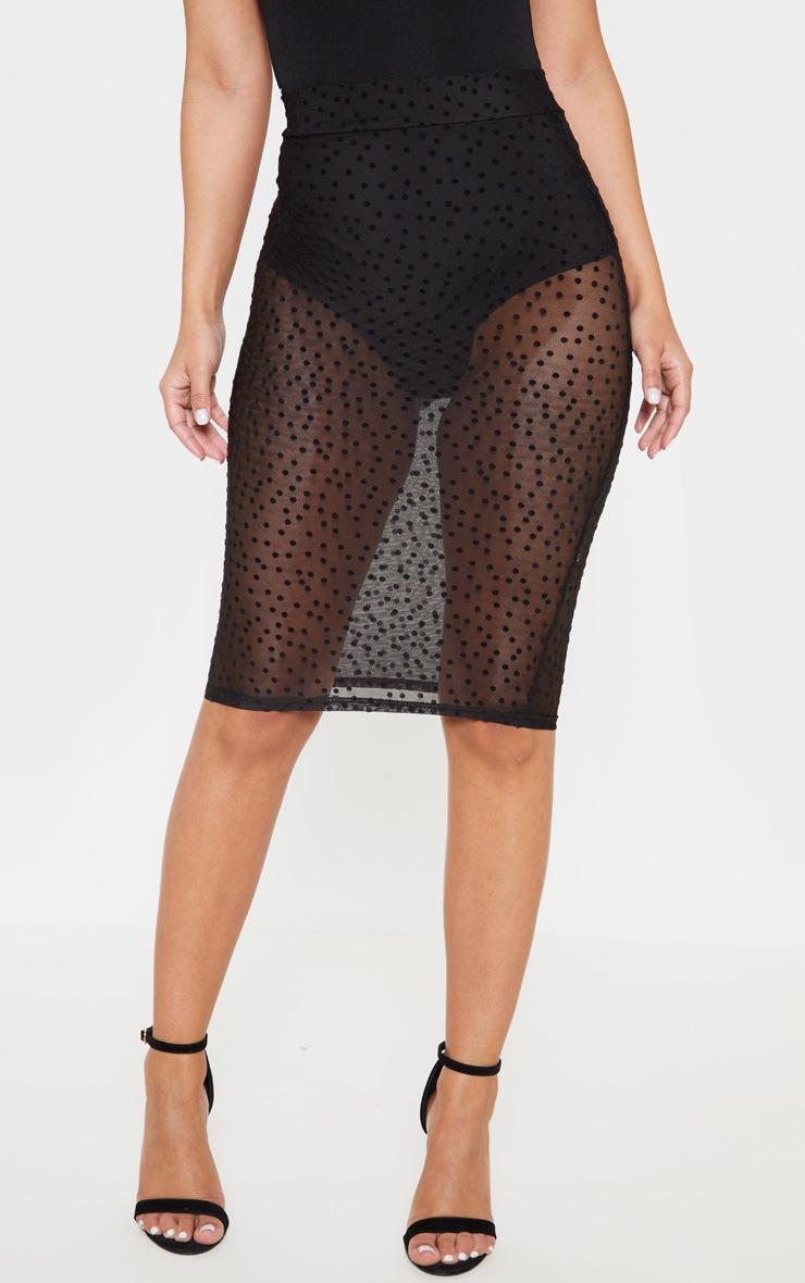 Petite Black Mesh Polka Dot Midi Fitted Skirt 2